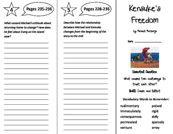Kensuke's Kingdom Trifold - Journeys 6th Grade Unit 2 Week