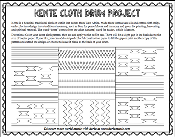 Kente Cloth For A Drum Craft Coloring Page By World Music With Daria