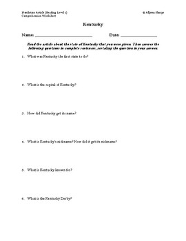 Kentucky Article (Reading Level 1) Comprehension Worksheet