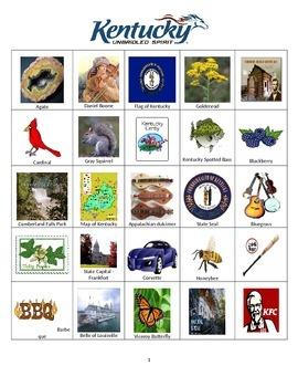 Kentucky Bingo:  State Symbols and Popular Sites