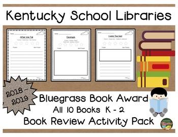 Kentucky Bluegrass K - 2 Book Award 2018 - 2019  Book Review Activity Pack