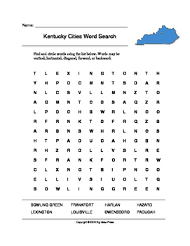 Kentucky Cities Word Search (Grades 3-5)