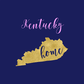 Kentucky Clipart, USA State Vector Clipart, Kentucky Home, Gold US Clipart