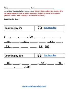 K - Kentucky - Common Core - Counting and Comparing Numbers up to 100