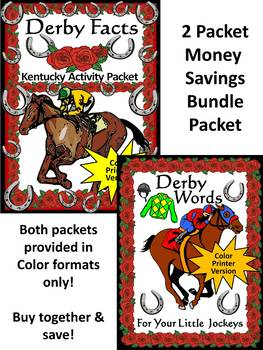 Kentucky Derby Activities: Derby Facts & Words Bundle Color Version