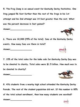 Kentucky Derby Fractions, Decimals, Percents