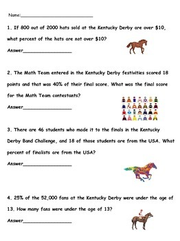 Kentucky Derby Math: Fractions, Decimals, Percents