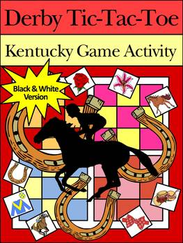 Kentucky: Derby Party Activities: Derby Tic-Tac-Toe Game Activities B/W Version