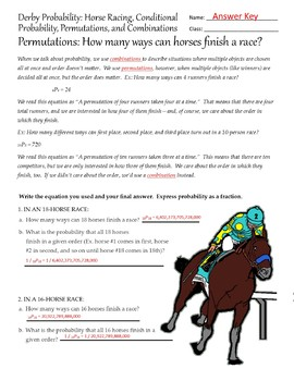 Kentucky Derby Permutations Worksheet