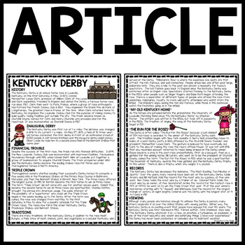 Kentucky Derby Reading Comprehension Workesheet, Questions, May, Horses