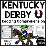Kentucky Derby Reading Comprehension Worksheet for May and Horse Racing