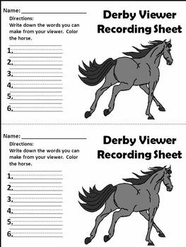 Kentucky: Derby Word Viewer Activity Black & White Version