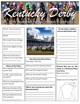 Kentucky Derby worksheet