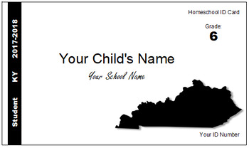 Kentucky (KY) Homeschool ID Cards for Teachers and Students