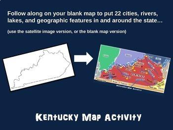 Kentucky Map Activity- fun, engaging, follow-along 20-slide PPT