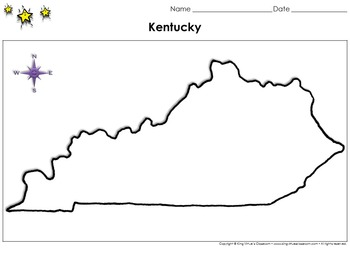 Kentucky Map - Blank - Full Page - Virginia's Bordering State - King Virtue