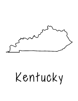 Kentucky Map Coloring Page Craft - Lots of Room for Note-Taking & Creativity