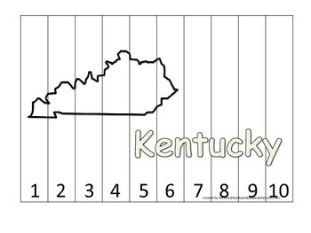 Kentucky Number Sequence Puzzle.  Learn the States preschool printable game.