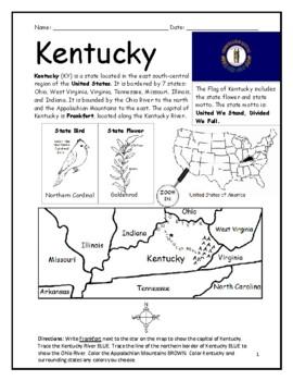 Kentucky - Printable handout with map and flag