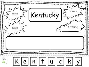 Kentucky Read it, Build it, Color it Learn the States preschool worksheet.