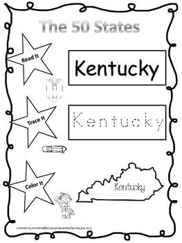 Kentucky Read it, Trace it, Color it Learn the States preschool worksheet.
