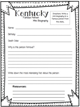 Kentucky State Research Report Project Template  bonus timeline Craftivity KY