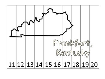Kentucky State Capitol Number Sequence Puzzle 11-20.  Geography and Numbers.