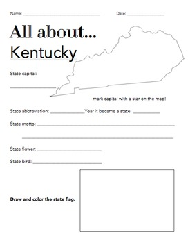 Kentucky State Facts Worksheet: Elementary Version