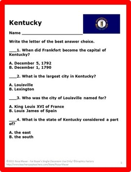 Kentucky State Facts task Cards and Worksheet
