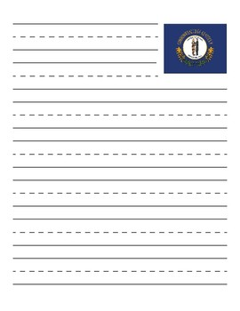 Kentucky State Flag Primary Lined Paper