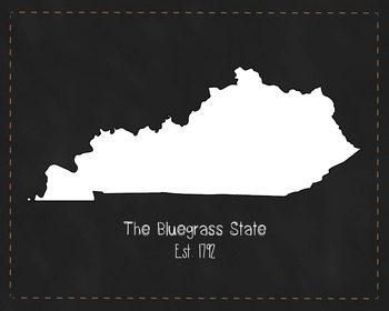 Kentucky State Map Class Decor, Government, Geography, Black and White Design