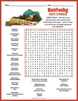 Kentucky State Symbols Word Search Puzzle