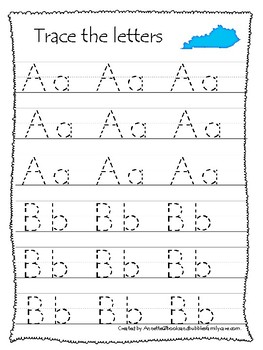 Kentucky State Symbols themed A-Z Tracing Worksheets. Preschool Handwriting
