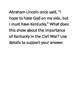 Kentucky Studies Civil War Open Response