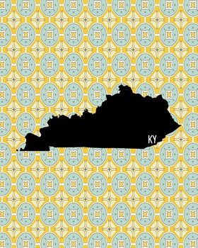 Kentucky Vintage State Map or Poster Class Decor, Classroom Decoration
