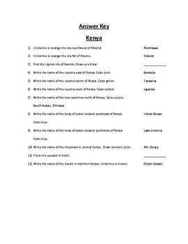 Kenya Map Scavenger Hunt
