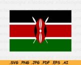Kenya National Flag, Kenyan Country Banner, SVG Cricut Print- EPS AI PNG JPG PDF