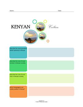 Kenyan Culture:  A Fillable Fact-Finding Sheet