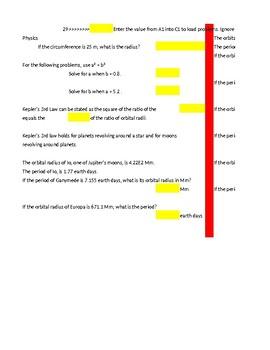 Kepler's Law Self Checking Random Practice Excel Problems