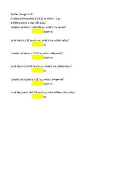 Kepler's Law Self Checking Random Practice Excel Problems for Instant Feedback