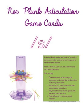 Ker Plunk Articulation Cards - Initial, Medial, and Final S in Sentences