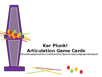 Ker Plunk Articulation Card Game; Speech Therapy; Ker Plunk!