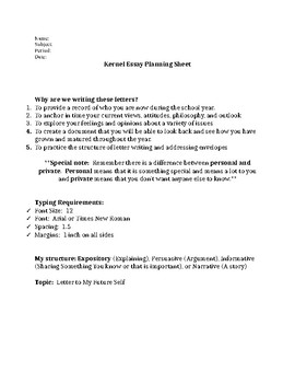 Planning Sheet Co Teach Organizer for Letter to Myself Activity