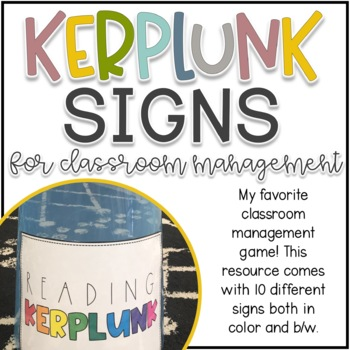 Kerplunk Game Signs for Classroom Management