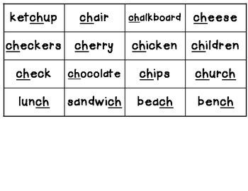 Ketchup Words! A CH Word Seek & Find Game!