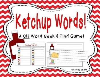 Ketchup Words! A CH Word Seek & Find Game!