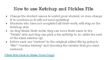 Ketchup and Pickle - GOOGLE SLIDES VERSION