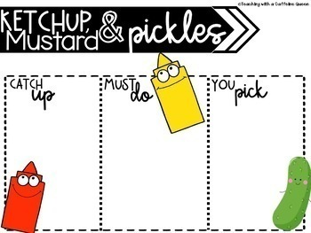 Ketchup and Pickles and Mustard EDITABLE slides with Timers and Folder Labels