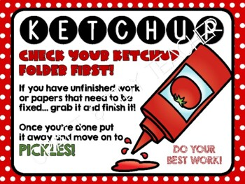 Ketchup and Pickles Signs for the Classroom