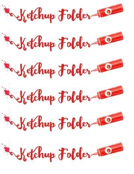 Ketchup folder labels Printables